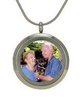 Round Photo Cremation Jewelry - Stainless steel finish