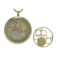 Round Cremation Jewelry with Circles - 14K gold plated base