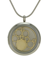 Round Cremation Jewelry with Circles - Stainless steel and 14K gold plated