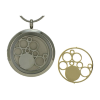 Round Cremation Jewelry with Circles - Stainless steel base