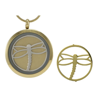 Round Cremation Jewelry with Dragonfly - 14K gold plated base