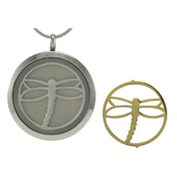 Round Cremation Jewelry with Dragonfly - Stainless steel base