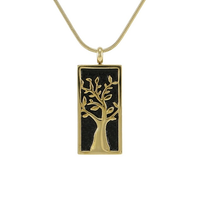 Embossed Tree Cremation Jewelry - 14K gold plated finish