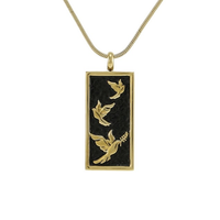 Embossed Doves Cremation Jewelry - 14K gold plated finish