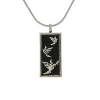 Embossed Doves Cremation Jewelry - Stainless Steel