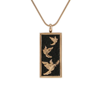 Embossed Doves Cremation Jewelry - Rose gold plated finish