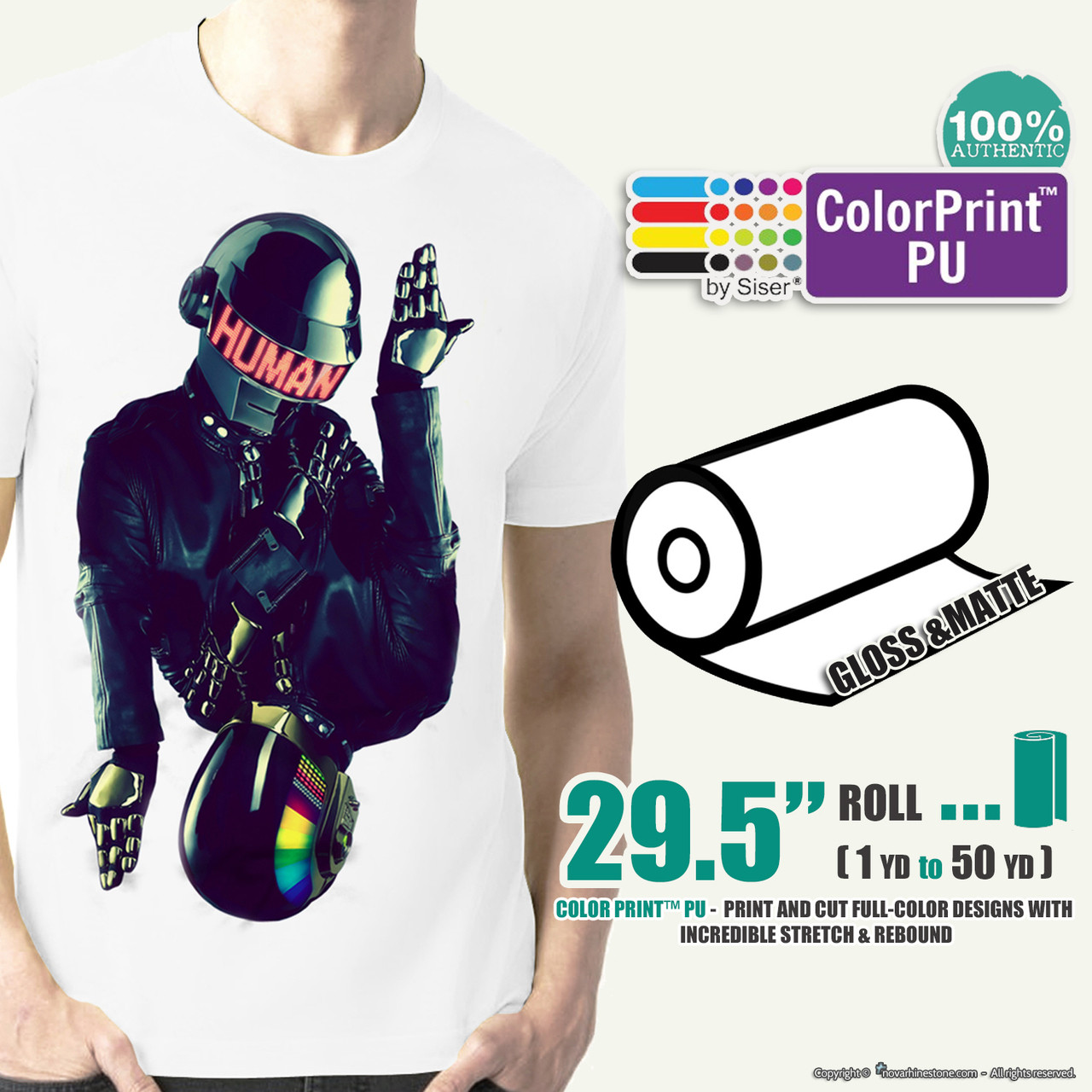 image about Siser Colorprint Easy Printable Heat Transfer Vinyl known as Siser ColorPrint PU - 29.5\