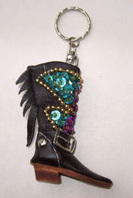 Key ring sequined cowboy boot