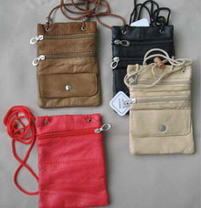Purse leather 3-zipper