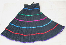 Skirt broomstick tiers black/multi ribbons