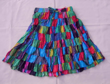 Skirt mini broomstick patchwork black/turquoise