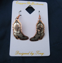 Earrings boot wire diamond-cut copper
