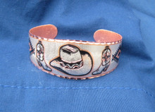 Bracelet cowboy hat boots diamond cut copper