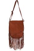 Fringe overlay soft leather handbag