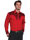 "Red on Red Sensation, Alan Jackson ""Good Time"" Mens Red western shirt by Scully"