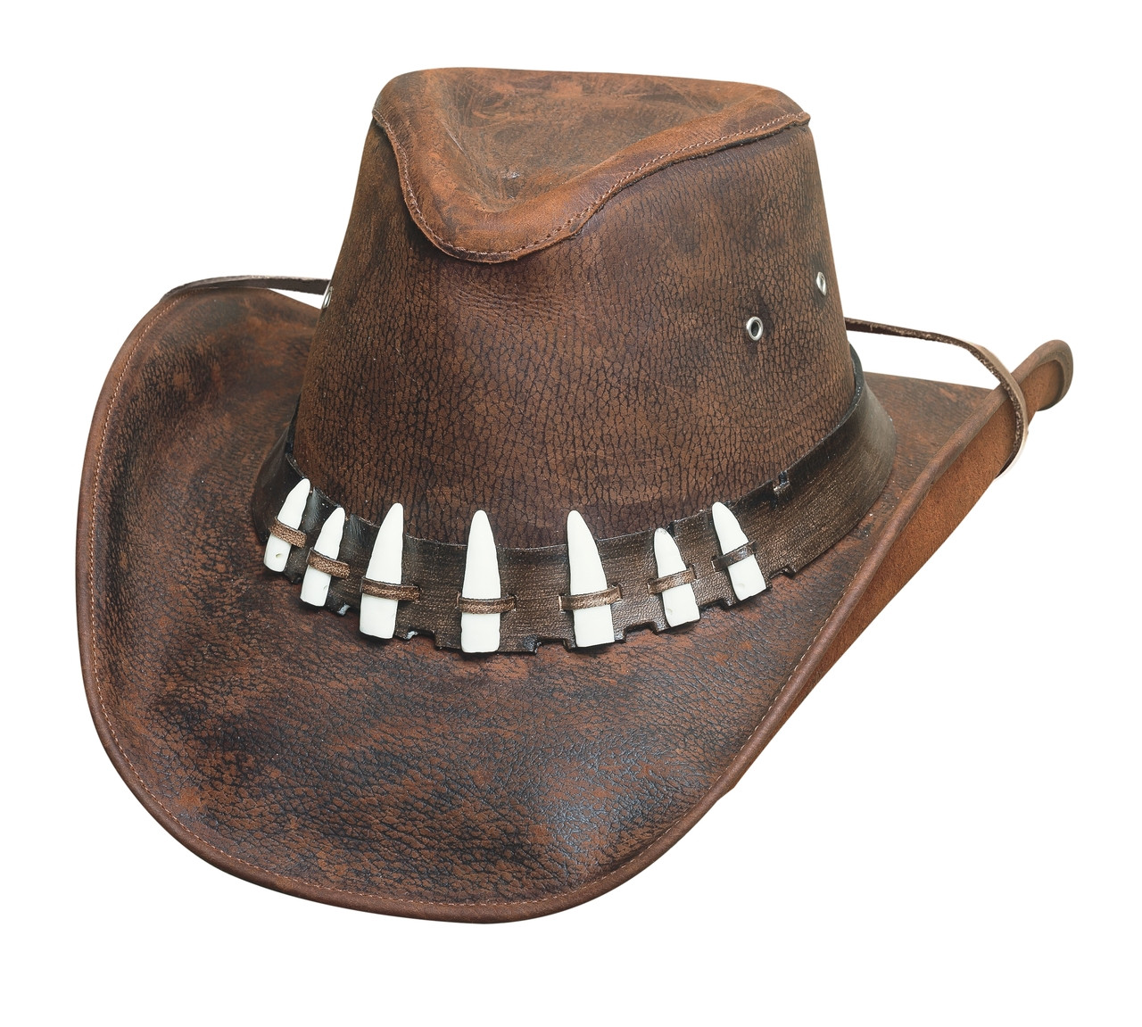 4d3d95c79b1c1 Croc Dundee Crock Teeth Hat - The Spiffy Hat Chocolate. Image 1. Loading  zoom