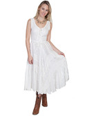 Ivory full length lace-up front sleeveless dress