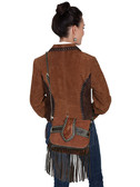 Suede and leather trim fringe handbag