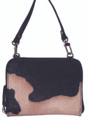 HAIR ON CALF STADIUM HANDBAG.  TOP ZIP CLOSURE.  INTERIOR CENTER ZIP DIVIDER.  INTERIOR ZIP POCKET THREE CREDIT CARD SLOTS.  REMOVABLE CROSS BODY SHOULDER STRAP.