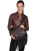 LADIES SOFT BLACK LEATHER FRINGE HANDBAG