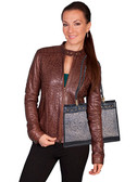 """Leather handbag. Top center tab with magnetic snap closure. Interior center zip divider with open and zip pockets. Exterior side open pockets. Size: 12.5"""" x 9.5"""" x 3"""". Double handles - 12"""" drop length"""