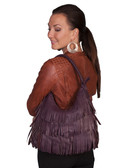 LEATHER FRINGE HANDBAG.  TOP ZIP CLOSURE.  INTERIOR CENTER ZIP DIVIDER WITH A ZIP AND TWO OPEN POCKETS.  SIZE: 15 INCH X 11 INCH X 2 INCH.