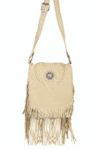 Tan fringed heart shaped design handbag