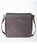 DISTRESSED LEATHER BRIEF LAPTOP COMPATABLE.  FULL FLAP WITH TWO MAGNETIC SNAP CLOSURES WITH ZIP POCKET ON FLAP.  EXTERIOR REAR ZIP POCKET.  INTERIOR SHUTTLE PADDED SECTION FOR LAPTOP OR TABLET WITH VELCRO TAB CLOSURE.  INTERIOR FRONT PANEL HAS FULL O