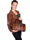 Hair on Calf Leather Brown Handbag