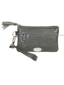 HAND PURSE WITH WRIST STRAP.  EXTERIOR FRONT ZIP POCKET.  INTERIOR CREDIT CARD SLOTS.
