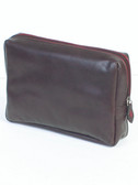 COSMETIC BAG.  CONTRAST PIPING.  LEAK PROOF LEATHERLIKE LINING.  THREE-WAY ZIP CLOSURE.  IMPORT.