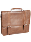 LAPTOP BRIEF.  QUICK RELEASE BUCKLE FLAP CLOSURE.  FRONT PANEL FEATURES A CENTER GUSSET ZIP POCKET WITH A FULL ZIP POCKET AT TOP.  INTERIOR ZIP AND ORGANIZING POCKETS WITH A REMOVABLE PADDED SHUTTLE FOR LAPTOP.  EXTERIOR REAR ZIP POCKET.  TOP CARRY H