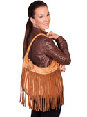 Ladies Soft Leather Fringe Handbag