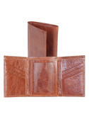 LEATHER TRI-FOLD WALLET W/ID WINDOW.  BILL DIVIDER.  CREDIT CARD POCKETS.  VERTICAL POCKETS.  ID WINDOW.  IMPORT.