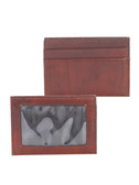 LEATHER CREDIT CARD/ID WALLET.  EXTERIOR CREDIT CARD POCKETS.  ID WINDOW.  BILL COMPARTMENT.  IMPORT.