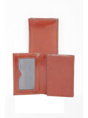 LEATHER MAGNETIC CARD CASE.  GUSSETED POCKET FOR BUSINESS CARDS.  ID WINDOW.  MAGNETIC CLOSURE.  IMPORT.