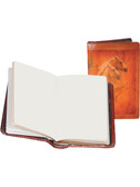 LEATHER PERSONAL NOTER.  2.75 INCH X 4.25 INCH BLANK NOTEBOOK.  IMPORT.