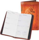 LEATHER POCKET WEEKLY PLANNER.  3 INCH X 6 INCH WEEKLY PLANNER.  IMPORT.