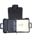 LEATHER 3 RING ZIP BINDER W/DROP HANDLES.  2 INCH RINGS INSIDE ORGANIZER.  2 OUTSIDE POCKETS.  WRITING PAD.  5 DIVISION SIDE TABS.  SCULLY PEN SHOULDER STRAP.  IMPORT.