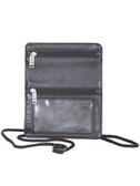 LEATHER AIRPORT ID HOLDER.  REAR OPEN POCKET FOR BOARDING PASS.  TWO FRONT ZIP POCKETS.  EXTERIOR ID WINDOW.  ADJUSTABLE NECK STRAP.  IMPORT.