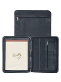 "Leather 3 way zip envelope. Inside organizer. Outside zip pocket. 8.5"" x 11"" writing pad. Writing Pen."