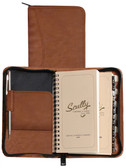 LEATHER ZIP POCKET PLANNER.  INSIDE POCKET.  3.75 INCH X 6.75 INCH WEEKLY PLANNER.  3.75 INCH X 6.75 INCH TEL/ADDRESS BOOK.  SCULLY PEN.  IMPORT.