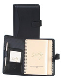 LEATHER WEEKLY PLANNER.  TAB CLOSURE AND INSIDE POCKET WITH PEN LOOP.  5 INCH X 8 INCH WEEKLY PLANNER.  5 INCH X 8 INCH TEL/ADDRESS BOOK.  SCULLY PEN.  IMPORT.