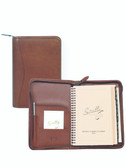 LEATHER ZIP WEEKLY PLANNER.  INSIDE POCKETS.  5 INCH X 8 INCH WEEKLY PLANNER.  5 INCH X 8 INCH TEL/ADDRESS BOOK.  WRITING PAD.  SCULLY PEN.  IMPORT.