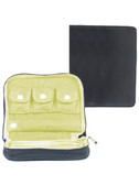 SOFT LEATHER JEWELRY CASE.  3-WAY ZIP CLOSURE.  3 SMALL SNAP POCKETS INSIDE (APPROX 1.5 INCH SQUARE EACH).  2 INSIDE ZIP POCKETS AND AN OPEN POCKET.  A STRAP INSIDE TO HOLD RINGS (WITH SNAP).  GREEN VELVET LINING.  IMPORT.