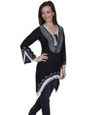 E101-BLK-MEDIUM SIZE  LONG SLEEVE TUNIC WITH CONTRAST WHITE EMBROIDERY & FRINGED SHARK BITE.  HEM..