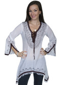 E102-WHT-MEDIUM SIZE  LONG SLEEVE 100% COTTON BLOUSE.  LACE UP FRONT WITH EMBROIDERED AND LACE ACCENT..  EMBROIDERED & LACE SPLIT SLEEVES.  SHARKBITE BOTTOM WITH FRINGE..