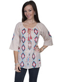 E104-WHE-EXTRA LARGE SIZE  3/4 SLEEVE 100% COTTON TUNIC..  EMBROIDERED FRONT AND SLEEVE ACCENT..  TIE FRONT TASSLE..