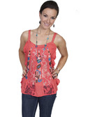 E106-PPY-LARGE SIZE  LADIES TANK WITH FRONT LACE PANELS AND EMBROIDERY..