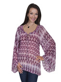 E117-FUS-LARGE SIZE  BEAUTIFUL WIDE ARMED FUCHIA BLOUSE.  GATHERED TIE NECKLINE W/ BELL.